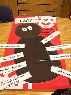 "Fiction vs. non-fiction: Used ""Diary of a Spider"" and a non-fiction spider book. Facts about a spider on legs on one side, opinions (fiction) on the other side. Kindergarten lesson."