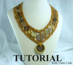 Crochet Inserted Button Necklace Tutorial & Video Link by ljeans