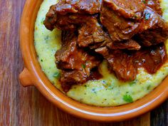 BBQ pulled pork with jalapeno cheese grits