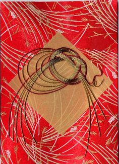 close-up of card with a lovely mizuhiki  knot...