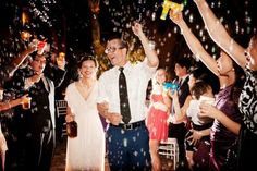 wedding ceremonies, bubbl gun, crowns, curls, bubbles, ceremony flowers, bottles, branches, outdoor weddings