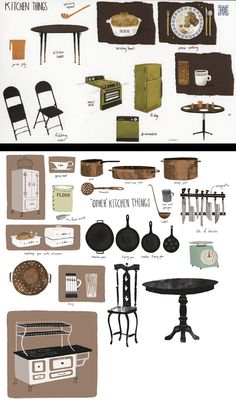 Jon Klassen - Coraline concept art - kitchen things