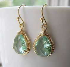 Prasiolite Gold Teardrop Earrings / Glass Dangle / Light Green / Bridesmaids / Wedding / Teardrop Earrings / 14K Gold Filled Wire / Gift on Etsy, $22.00