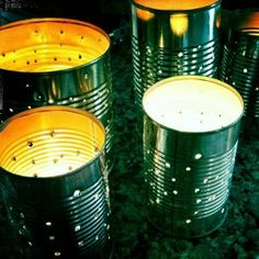 Light up the backyard in a whimsical way with these Starlight Tin Can Lanterns. A great thrifty recycled #craft!