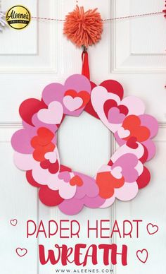 This paper heart wreath makes a festive addition to your Valentine's Day décor and is easy enough for the kiddos to make too!