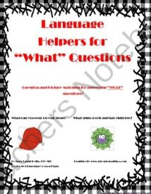 """Language Helpers for """"WHAT"""" Questions! Enter for your chance to win 1 of 2.  Language Helpers for """"WHAT"""" Questions (10 pages) from Miss Mary's Teaching Resources  on TeachersNotebook.com (Ends on on 10-31-2014)  Great for early intervention, speech therapy and special education."""