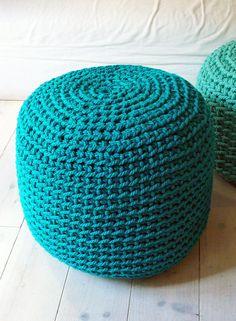 Pouf Crochet thick yarn  Emerald por lacasadecoto en Etsy, €85.00