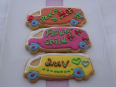 Kombi Van Cookies - Someone asked me for ideas of decorating cookies for hippy theme. I came up with the kombi van cookies. Not bad ha, giving that I wasnt born in that era.