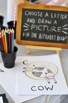 Choose a letter and draw a picture baby shower game