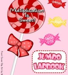 Multiplication Facts 0-12 Jumbo-Lapbook Activities - This is 56-page PDF file for a three file folder lapbook filled with games and activities to help students master the basic multiplication facts from 0-12. And what better theme than yummy candy!! The lapbook can be done in COLOR or B & W. $