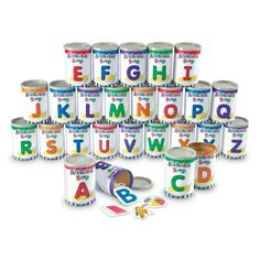 upcycle baby formula cans to make these Alphabet Soup Sorters.  Great Preschool idea.