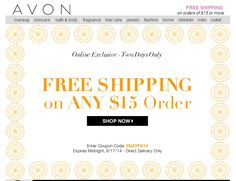 Avon Free Shipping on any $15 online order! Exp: 6/17/14 - Use code: 2DAYFS at http://eseagren.avonrepresentative.com #freeshipping #makeup #coupon