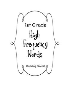 Reading Street High Frequency Words (1st grade)