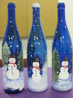 bottl decor, snow friendssnowmen, christma fun, christma craft, paint bottl