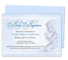 Baby Boy Baptism/Christening Invitations: Printable Angelo Baby Baptism Invitation Template