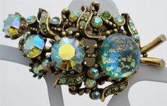 Signed Hollycraft Dragon's Breath Art Glass Rhinestone Brooch Corp 1958 Vintage | eBay