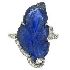J.E. CALDWELL Art Deco Carved Sapphire Diamond Ring  United States  Circa 1925