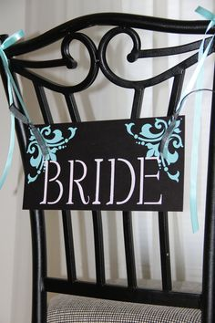 Bride and Groom Wedding Chair Sign
