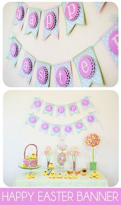Super cute and easy Easter Banner Tutorial on { lilluna.com } #easter