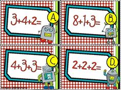 Here's a set of robot themed materials for three-digit addition.  three digit addition. Includes instructions, 12 addition cards, 12 sum cards, and a recording sheet.