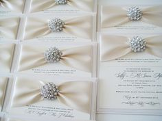 Bling Wedding Theme | diamante bling and ivory postcard style wedding invitations