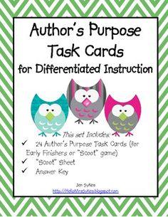 Author's Purpose Task Cards. #teaching authors purpose #teaching-authors-purpose #authors purpose #authors-purpose #comprehension #language arts #language-arts