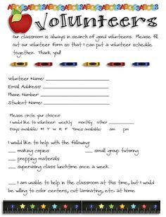volunteer form -- hand out on parent night