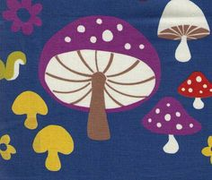Kokka Fabric  Mushrooms Toadstools Forest with by fabricsupply, $4.00
