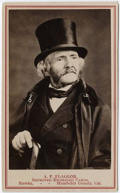 Photograph of a man in a top hat cdv by Flaglor, Eureka, CA