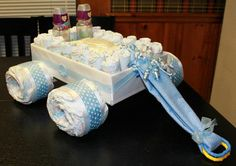 Diaper Cake Wagon - Baby Shower Gift - fill inside with flowers