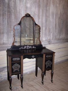 1920s Gorgeous and GLAM One of a KIND Vintage Vanity Desk Black & Brown