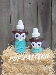 Owl Baby Bottle Cover crochet PATTERN PDF (instant download) on Etsy, $3.99