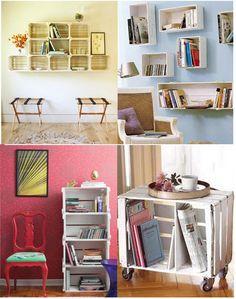 estantes, armários, cômodas e mesinhas com caixotes de madeira