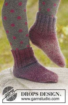 "February is #Sockalicious! Knitted DROPS socks in ""Delight"". ~ #DROPSDesign #Garnstudio"