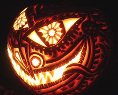 scary pumpkin carved