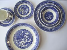 Vintage Blue and White Willow Style China Set of by thechinagirl