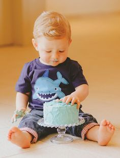 Adorable shark shirt to help take a bite out of that smash cake ;)