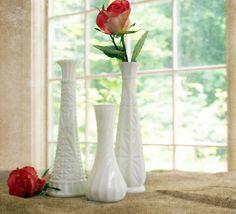 Set of 3 Vintage Milkglass Vases SOLD #vintage #milkglass #vase #white