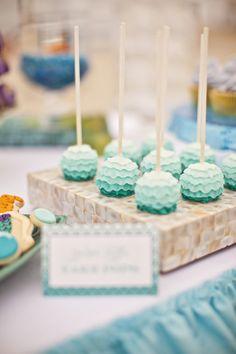 Blue Ruffle Cake Pops