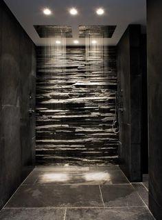 Slate and stone bathroom, rainfall showerheads