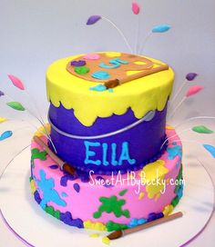 Cute Painting Party cake idea!