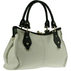 """The Bianca satchel is a beautifully crafted handbag that has a definite vintage glam"""" appeal. Classically traditional blacks and whites make this bag the essential addition to any wardrobe. You can wear this bag cross body or on the shoulder with the optional, adjustable long strap which gives you an 18-22 inch drop, or carry it by the 6 inch drop loop handles. The main compartment is secured with a unique fold-over magnetic strip closure and features a decorative lock and key.  Material(s): ..."""