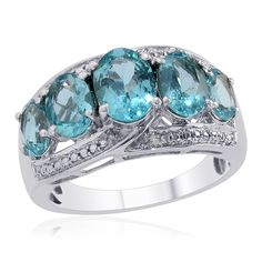 Liquidation Channel | Madagascar Paraiba Apatite and Diamond Ring in Platinum Overlay Sterling Silver (Nickel Free)