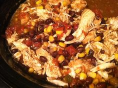 Chicken Tacos Crockpot - 1 lb chicken breast, 2 pkgs taco seasoning, 1 can rotel, 1 can black beans, 1 cup frozen corn, Chicken broth