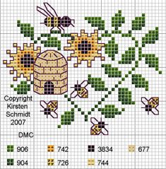 bee cross stitch pattern