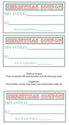 Printable Christmas Coupon