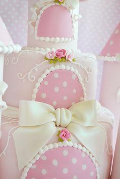 Pink & White Polka Dot Castle Cake