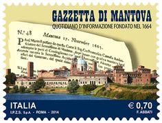 Francobollo celebrativo della Gazzetta di Mantova, nel 350° anniversario della fondazione