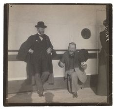 Maurice Prendergast standing on deck of ship ca. 1898  at Williams College Museum of Art, Prendergast Archive and Study Center
