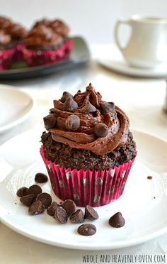 Gluten-Free Chocolate Cupcakes With Whipped Chocolate Ganache. Soft, moist chocolate cupcakes that are gluten-free, egg-free, and sugar-free. | wholeandheavenlyoven.com